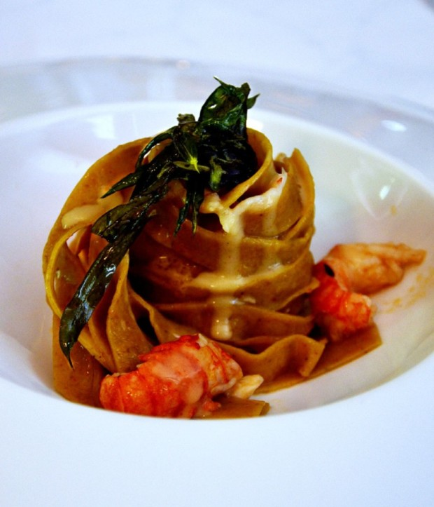 Desiccated shrimp pasta with shrimp, and a coconut milk and liquorice sauce